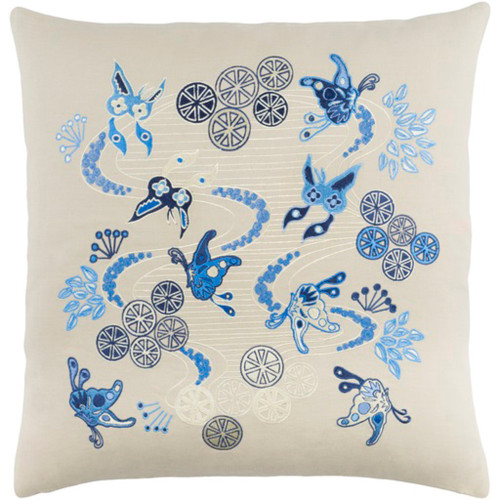 "20"" Cream White and Bright Blue Butterflies in Paradise Throw Pillow - Down Filler - IMAGE 1"