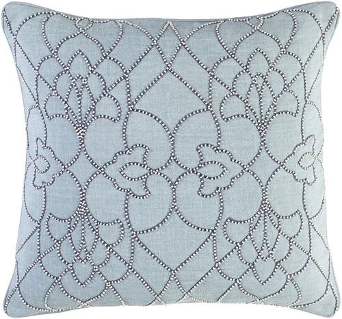 "20"" Blue and White Square Modish Western Woven Throw Pillow - IMAGE 1"