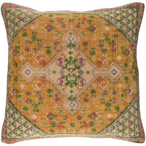 """22"""" Yellow and Green Contemporary Square Throw Pillow - IMAGE 1"""