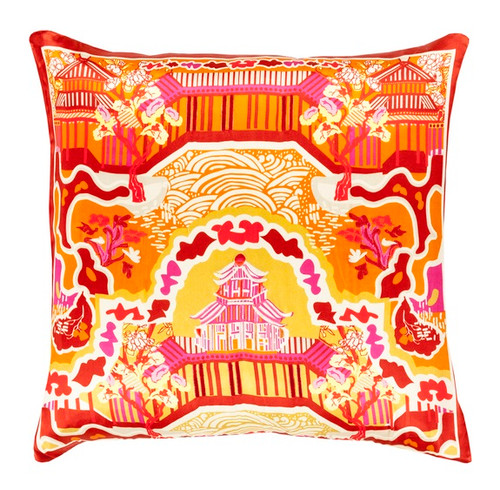 """22"""" Carrot Orange and Pepper Red Decorative Square Throw Pillow - IMAGE 1"""