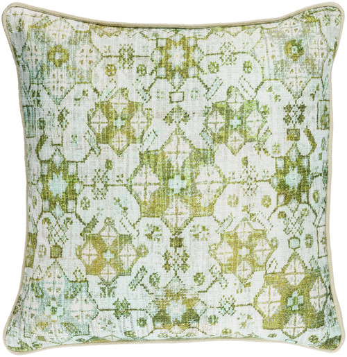 """22"""" Granny Smith Apple Green and White Woven Decorative Throw Pillow - Poly Filled - IMAGE 1"""