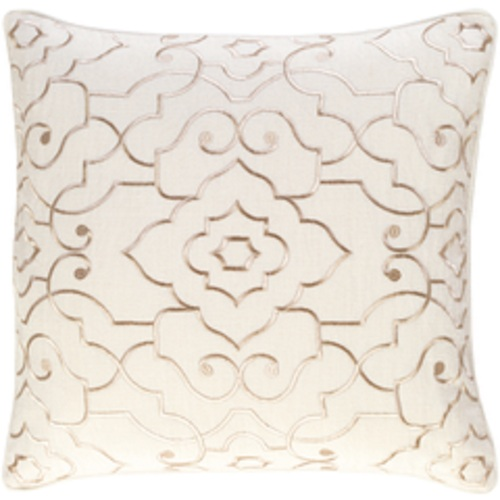 """20"""" Beige and Gold Embroidered Square Throw Pillow - Down Filler - IMAGE 1"""