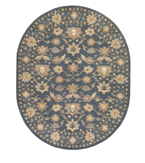 6' x 9' Blue and Brown Oval Wool Area Throw Rug - IMAGE 1