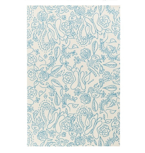7.5' x 9.5' Gentle Butterfly Blue and White Hand Hooked Rectangular Area Throw Rug - IMAGE 1