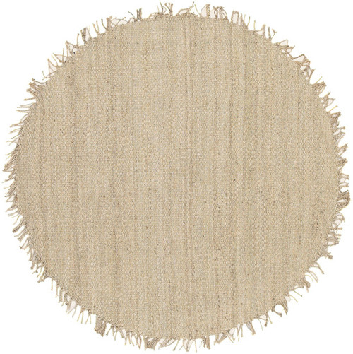 6' Beige and Gray Hand Woven Round Jute Area Throw Rug - IMAGE 1