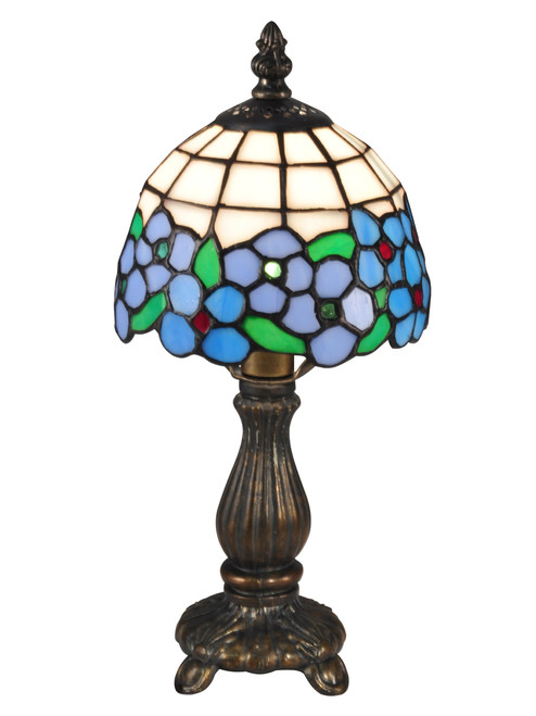 "12.5"" Green and Blue Daisy Hand Crafted Glass Tiffany-Style Table Lamp - IMAGE 1"