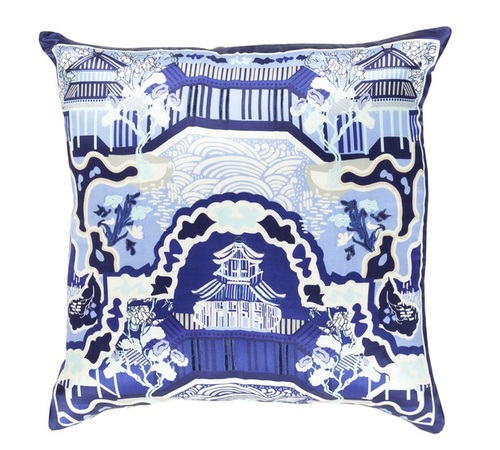 """22"""" Midnight Blue and White Decorative Square Throw Pillow - Down Filler - IMAGE 1"""