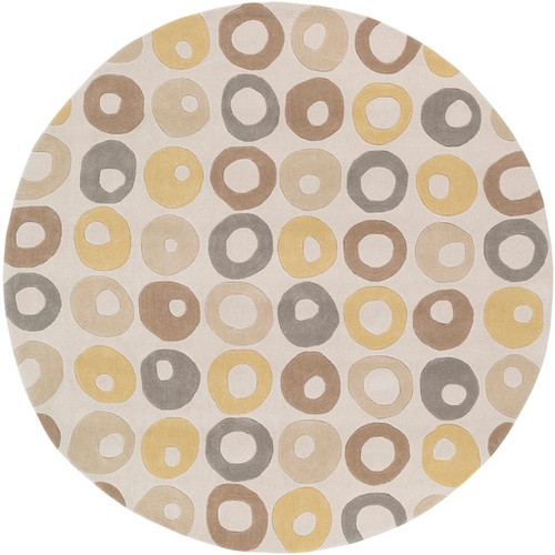 8' Contemporary Champagne Yellow and Brown Hand Tufted Round Area Throw Rug - IMAGE 1