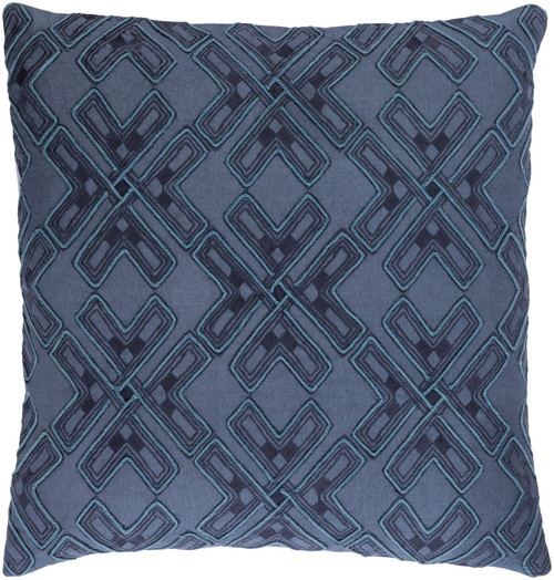 """20"""" Navy Blue and Dolphin Blue Square Throw Pillow - Down Filler - IMAGE 1"""