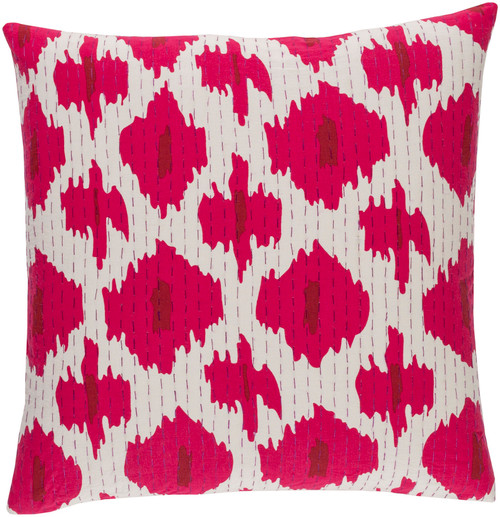 """20"""" Pink and White Square Throw Pillow  – Down Filler - IMAGE 1"""