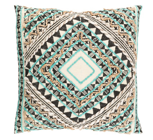 "22"" Green and Black Diamond Hand Embroidered Throw Pillow - Down Filler - IMAGE 1"
