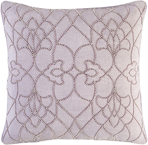 """22"""" Ivory and Purple Modish Western Square Woven Throw Pillow - Down Filler - IMAGE 1"""
