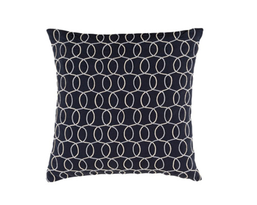 """22"""" Ink Blue and Gray Contemporary Square Throw Pillow - Down Filler - IMAGE 1"""