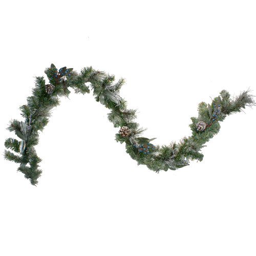 "6' x 10"" Mixed Pine and Blueberries Artificial Christmas Garland - Unlit - IMAGE 1"