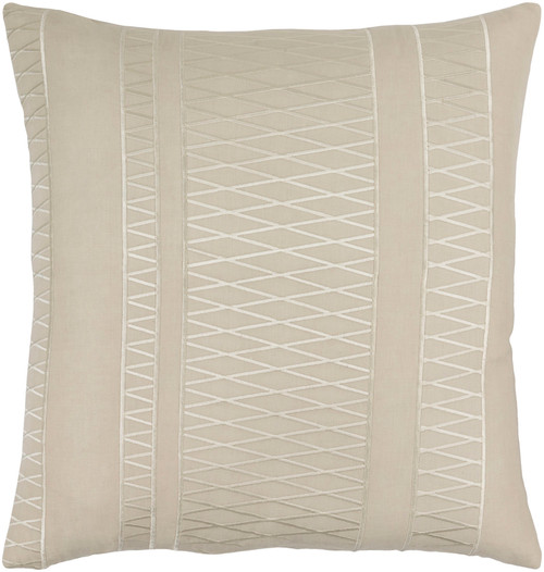 """22"""" Antique White and Beige Woven Throw Pillow - Down Filler - IMAGE 1"""