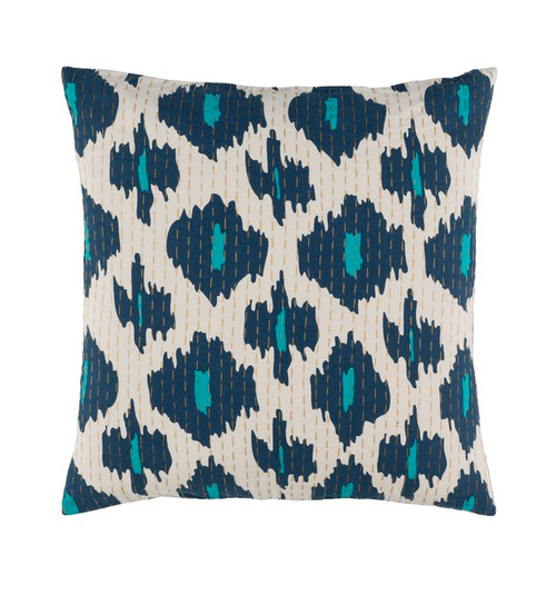 """18"""" Contemporary Deep Blue and White Woven Decorative Throw Pillow - Poly Filled - IMAGE 1"""
