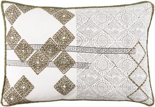 "19"" Drab Green and White Woven Rectangular Throw Pillow - Down Filler - IMAGE 1"