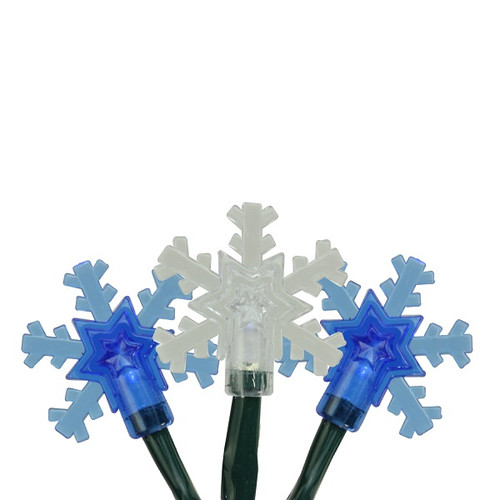 10-Count Blue and White LED Snowflake Christmas Lights, 3.8 ft Green Wire - IMAGE 1
