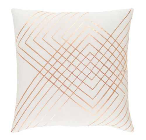 "20"" Blush Pink and Rust Brown Square Throw Pillow - IMAGE 1"