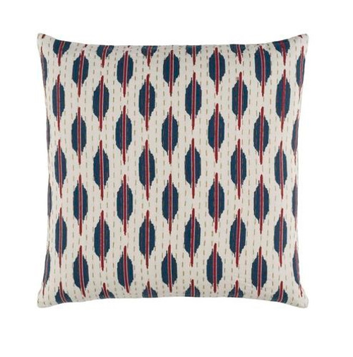 """22"""" Blue and Red Contemporary Square Throw Pillow - IMAGE 1"""