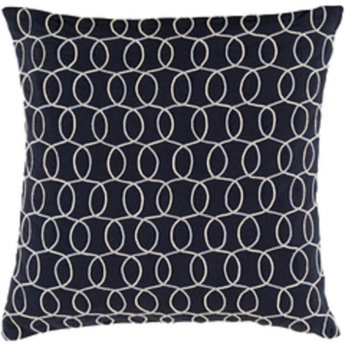 """20"""" Ink Blue and Gray Contemporary Square Throw Pillow - Down Filler - IMAGE 1"""
