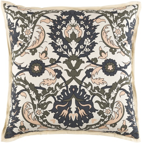 """18"""" Beige and Black Damask Square Throw Pillow - IMAGE 1"""