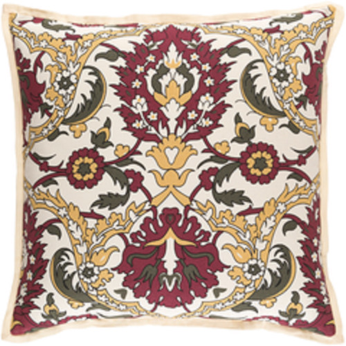 """18"""" Red and Beige Damask Square Throw Pillow - Down Filler - IMAGE 1"""