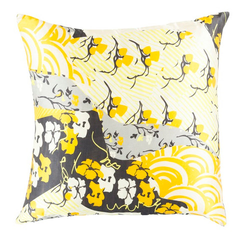 "20"" Lemon Yellow and Black Decorative Square Throw Pillow - Down Filler - IMAGE 1"