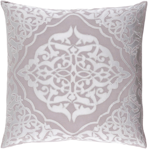 """22"""" Dove Gray and Silver Decorative Square Throw Pillow - IMAGE 1"""