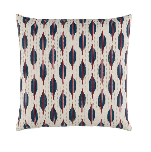"""18"""" Blue and Red Contemporary Square Throw Pillow - Down Filler - IMAGE 1"""