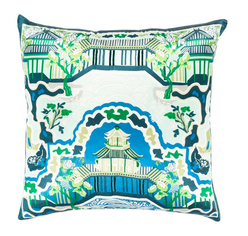 "20"" Sky Blue and Green Decorative Square Throw Pillow - Down Filler - IMAGE 1"