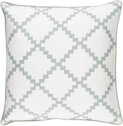"""22"""" White and Green Geometric Pattern Decorative Throw Pillow with Piping Edges - Poly Filled - IMAGE 1"""