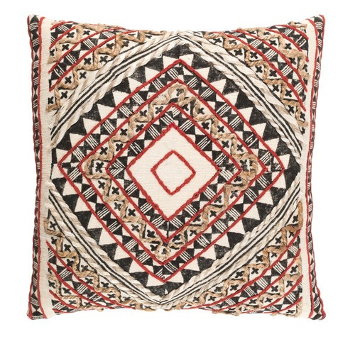 "18"" Red and Brown Woven Contemporary Square Throw Pillow – Down Filler - IMAGE 1"