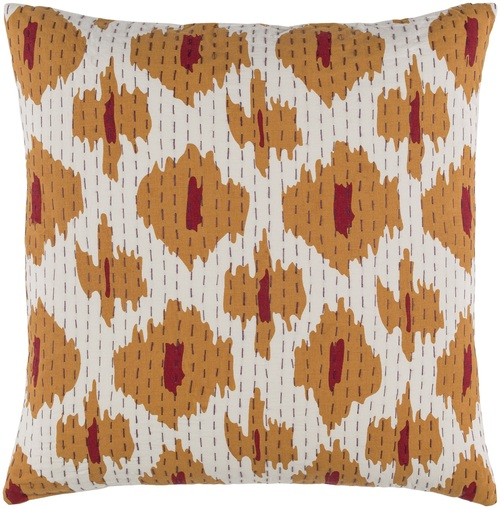 """22"""" Gold and White Contemporary Square Throw Pillow - Down Filler - IMAGE 1"""