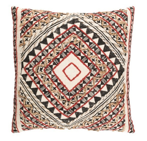 "22"" Red and Black Diamond Hand Embroidered Throw Pillow - IMAGE 1"