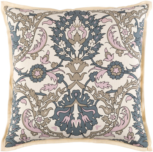 """18"""" Beige and Pink Floral Square Throw Pillow - Down Filler - IMAGE 1"""
