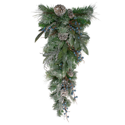 """28"""" Mixed Pine and Blueberries Artificial Christmas Swag - Unlit - IMAGE 1"""