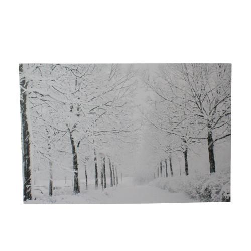 "Fiber Optic Lighted Snowfall Winter Lane Christmas Canvas Wall Art 11.75"" x 15.75"" - IMAGE 1"