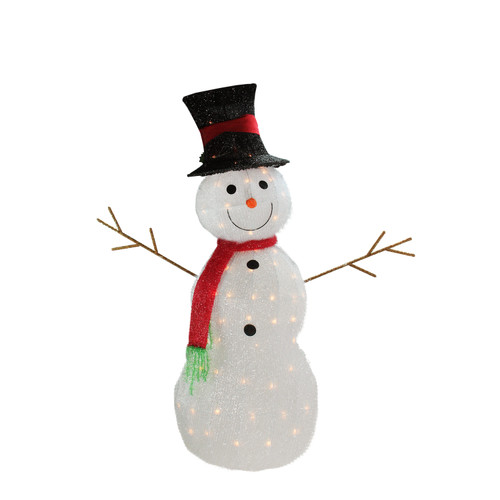 """48"""" White Lighted 3D Snowman with Top Hat Christmas Outdoor Decor - IMAGE 1"""