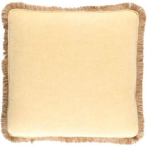 "22"" Yellow and Brown Square Contemporary Throw Pillow - IMAGE 1"