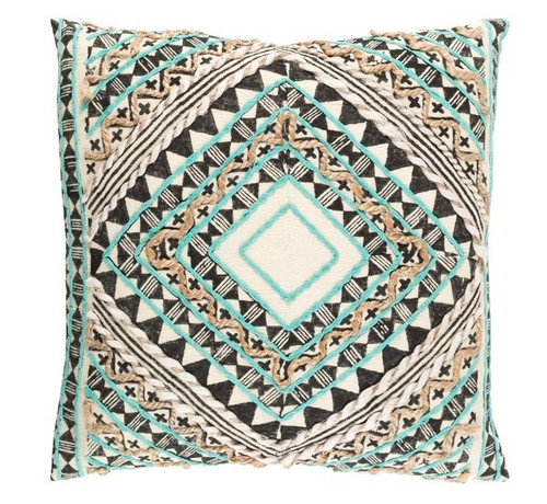 "22"" Green and Black Diamond Hand Embroidered Throw Pillow - IMAGE 1"