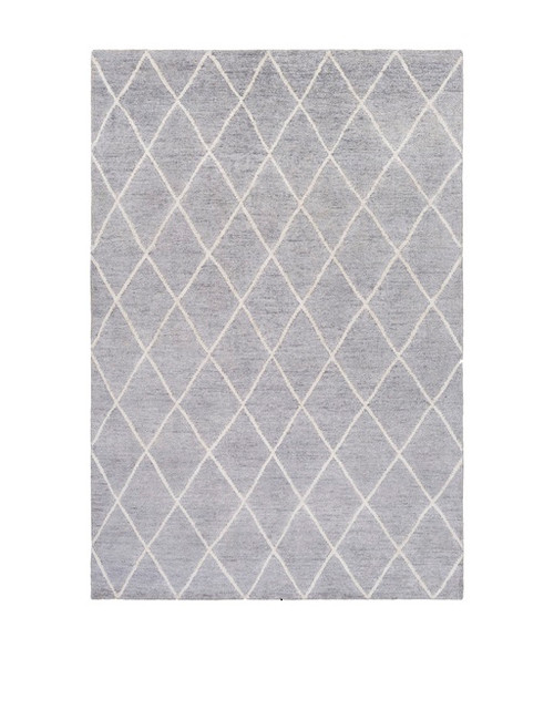 6' x 9' Jolted Divide Dolphin Gray and French Coconut Gray Hand Knotted Area Throw Rug - IMAGE 1