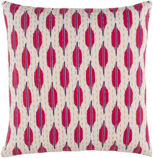 "22"" Pink and White Contemporary Square Throw Pillow - Down Filler - IMAGE 1"