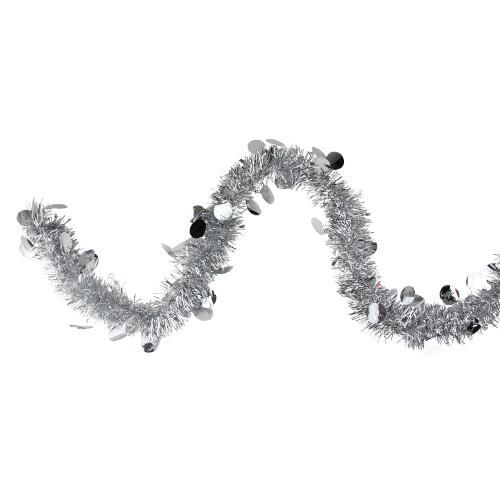 "50' x 2.5"" Silver Shiny Tinsel Artificial Christmas Garland - Unlit - IMAGE 1"