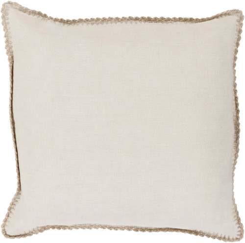 "22"" Beige White and Sand Brown Square Woven Throw Pillow - IMAGE 1"