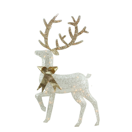 "46"" Lighted 2-D Silver Glitter Reindeer Christmas Outdoor Decoration - IMAGE 1"