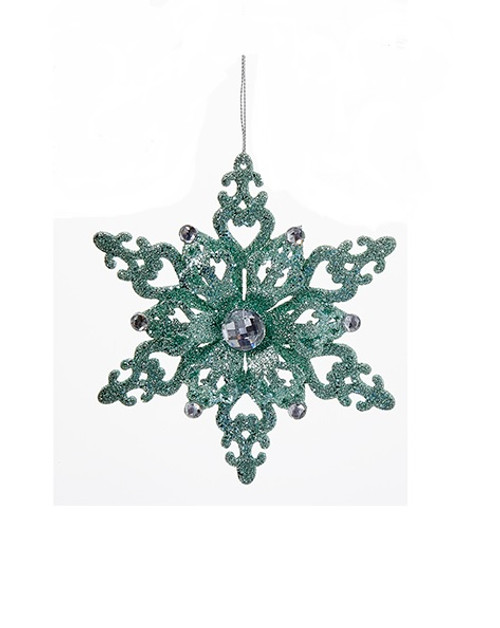 "5.5"" Mint Green and White Wooden Glittered Snowflake with Gems Christmas Ornament - IMAGE 1"
