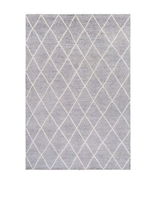 2' x 3' Jolted Divide Dolphin Gray and French Coconut Gray Hand Knotted Area Throw Rug - IMAGE 1