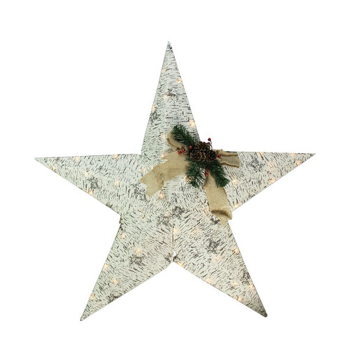 "36"" Lighted Country Rustic Birch Star Christmas Wall Decor - Clear Lights - IMAGE 1"