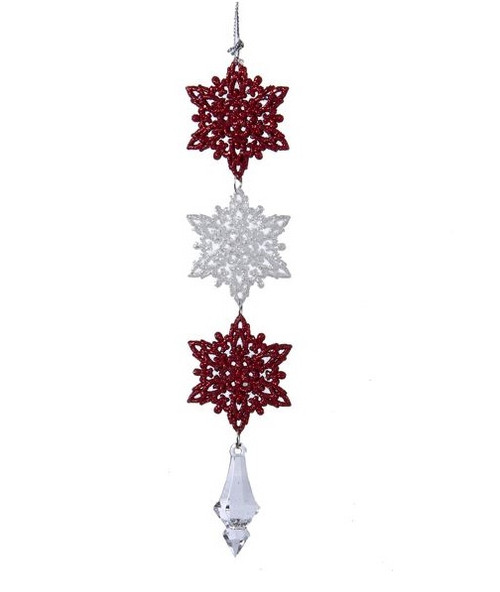 """8.5"""" Red and White Glittered Snowflakes Christmas Drop Ornament - IMAGE 1"""